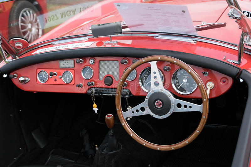 MG roadster dashboard. MANCHESTER UNITED KINGDOM - JULY 17 2016: A 1992 MG Roadster classic car dashboard. July 2016 stock photo