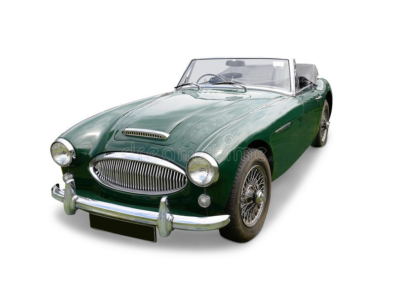 MG Sports car. Classic vintage MG (Morris Garages) two seater open top sports car with wire wheels, long bonnet with air intake and chrome trim, white background stock photos