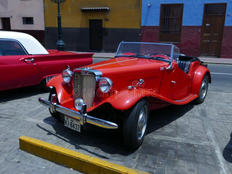 MG TA roadster Midget serie T exhibited in Lima. Lima, Peru. December 4, 2016. Old convertible red MG TA roadster Midget serie T built in the UK between 1936 and stock image