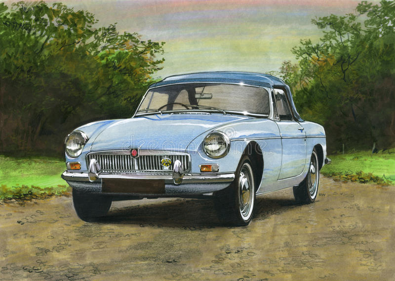 MGB Open tweepersoonsautojaren '60 stock illustratie