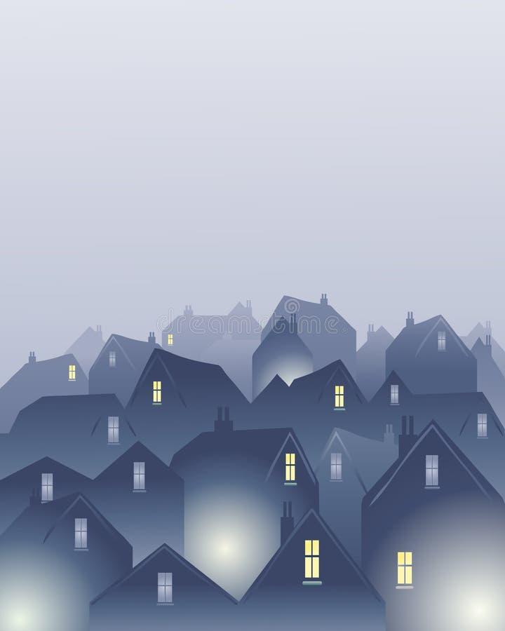 mgliści dachy ilustracja wektor