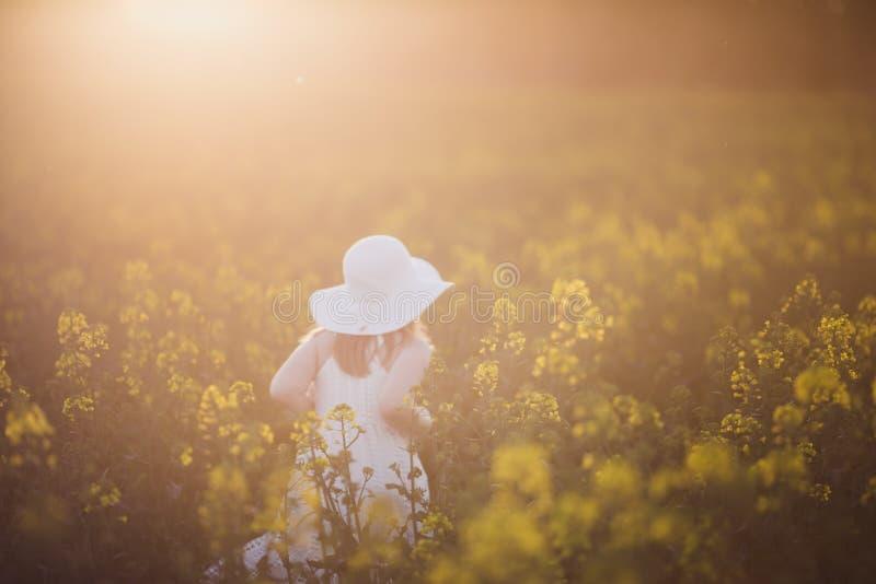 Mglista dziewczynka w białej sukience biegająca przez pole gwałtu o zachodzie słońca Zamierzony blask słoneczny, soczewka skupia  zdjęcie royalty free