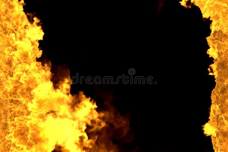 Mglista rozjarzona ogień rama odizolowywająca na czerni pożarnicza 3D ilustracja - pożarnicze linie od stron lewica i prawica, wi royalty ilustracja