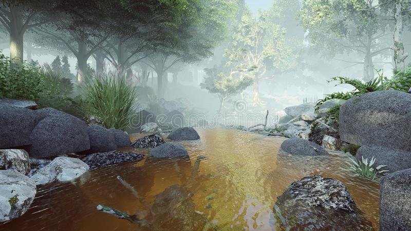 Mglista rzeczna lasu 3d renderingu ilustracja ilustracji
