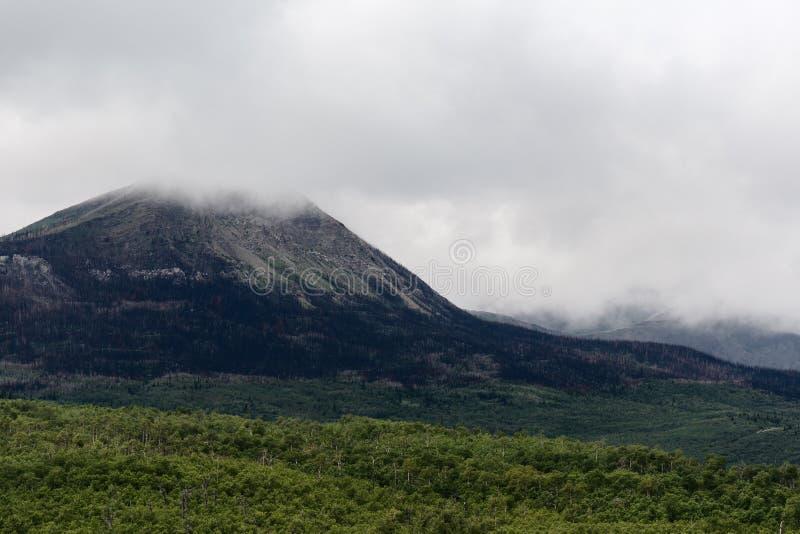 Mgliste chmury wzrastają nad halnymi szczytami w Waterton jeziorach parki narodowi, Kanada fotografia royalty free