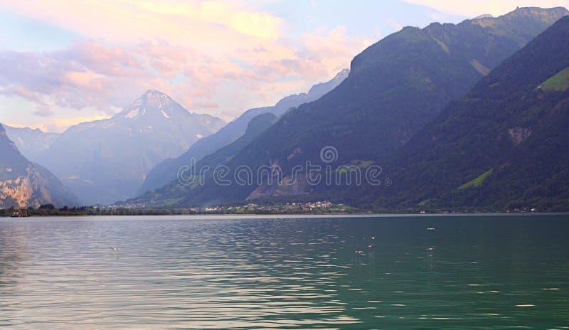 Mglisty Alpejski jezioro zdjęcia royalty free