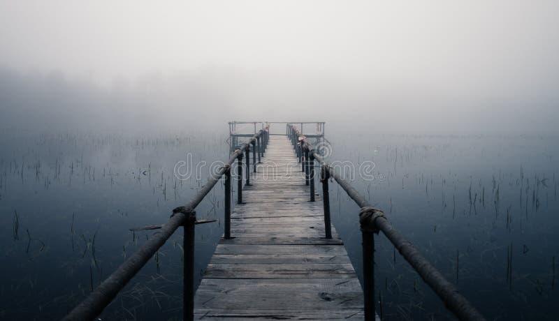 Mglisty jezioro zdjęcie royalty free