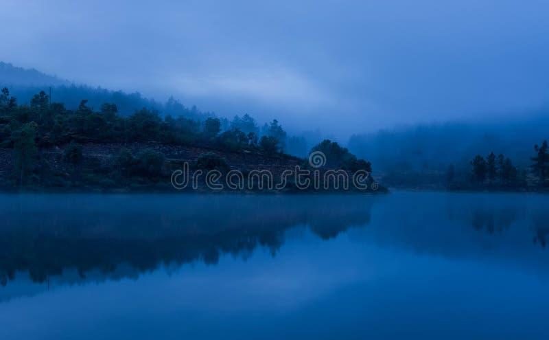 Mglisty jezioro z odbiciami i lasem obraz stock