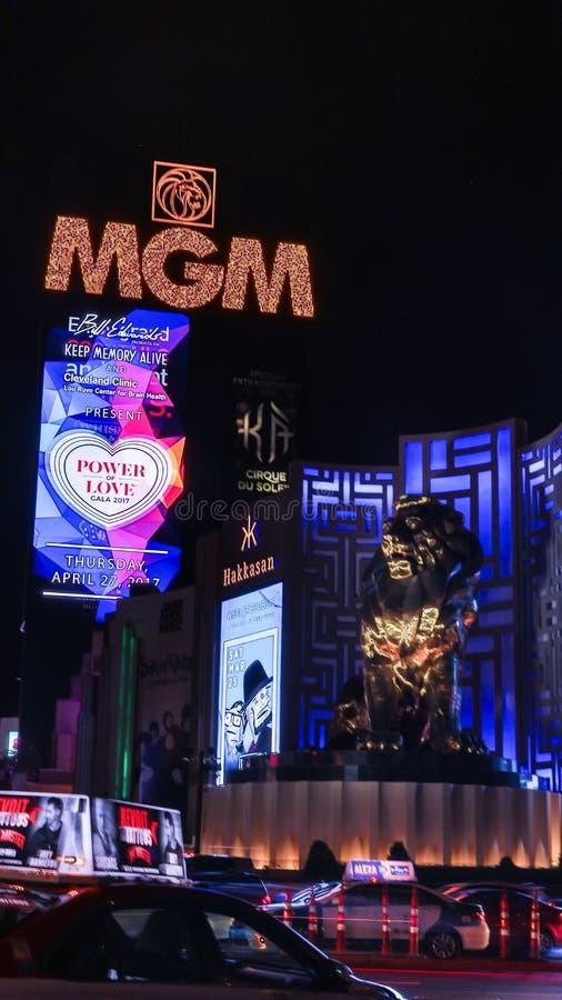 MGM Casino in Las Vegas. Las Vegas, MGM Casino . Exterior view at night royalty free stock photos