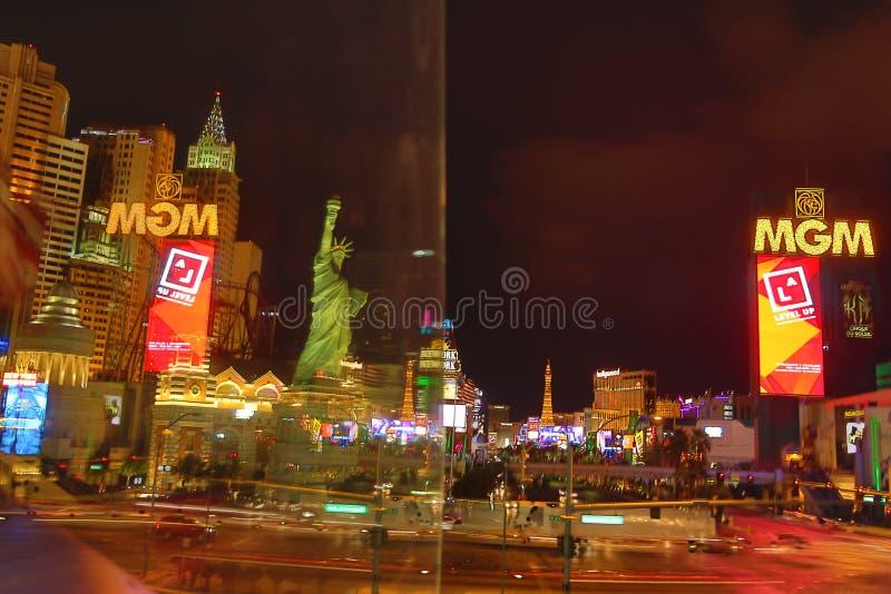 MGM Casino in Las Vegas. Las Vegas, MGM Casino . Exterior view at night stock photo