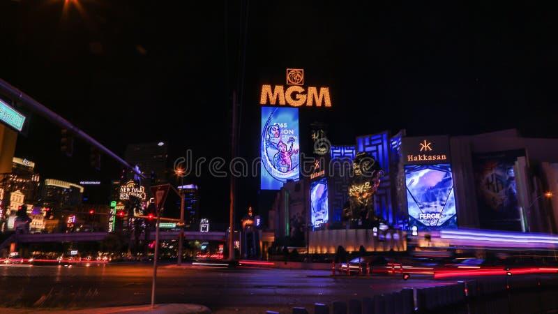 MGM Casino in Las Vegas. Las Vegas, MGM Casino . Exterior view at night stock images