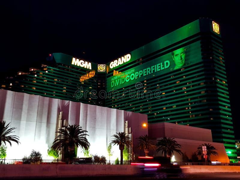 MGM Grand赌场酒店在拉斯维加斯在晚上 库存图片