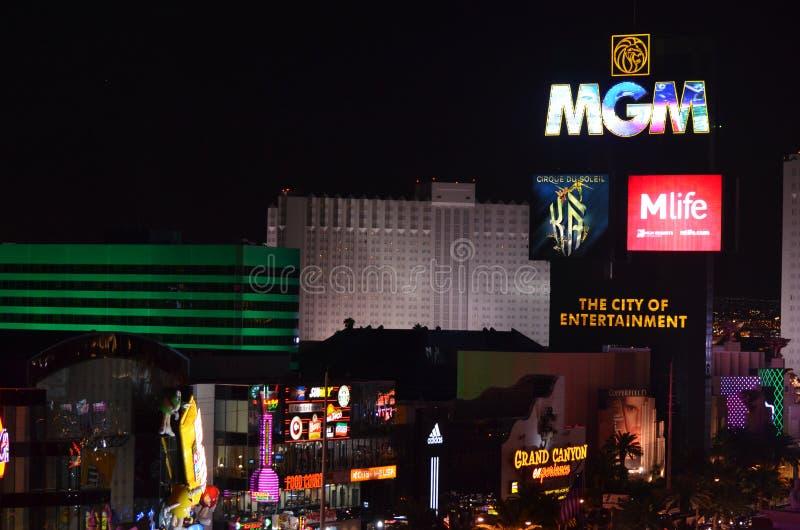 MGM Grand,拉斯维加斯,夜,城市,市区,电子标志 免版税图库摄影