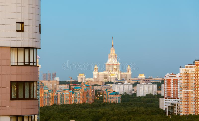 MGU and panorama, aerial view of the city Moscow at the summer on a during sunset with clouds royalty free stock photography