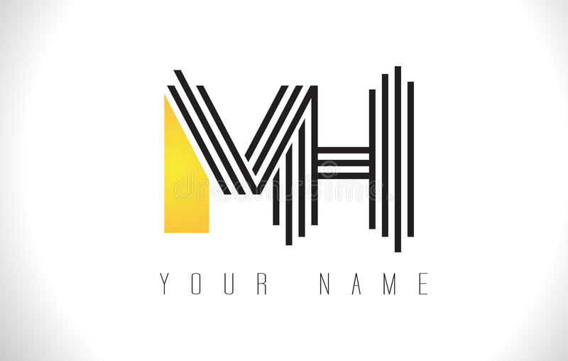 MH黑色排行信件商标 创造性的线在传染媒介Templat上写字 皇族释放例证