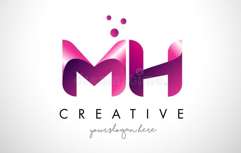 Download Mh Letter Logo Design With Purple Colors And Dots Stock Vector Illustration Of Icon