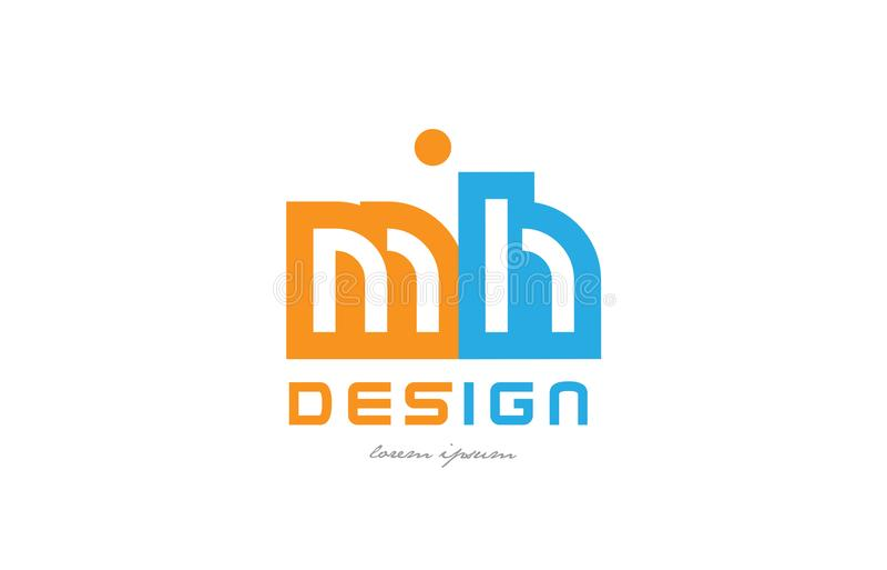 mh m h橙色蓝色字母表信件商标组合 库存例证