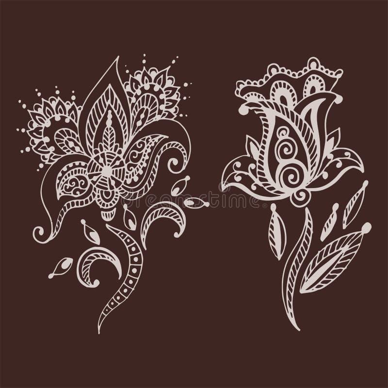 Mhendi indiano decorativo decorativo do arabesque de paisley do teste padrão do projeto da garatuja da flor do mehndi do marrom d ilustração do vetor