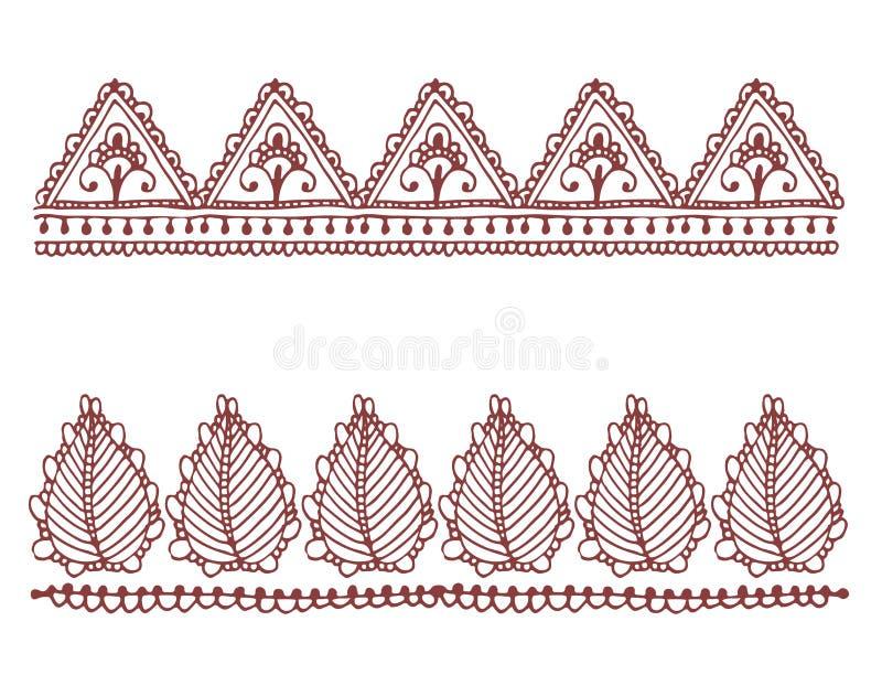 Mhendi indio decorativo ornamental del arabesque de Paisley del modelo del diseño del garabato de la flor del mehndi del marrón d libre illustration