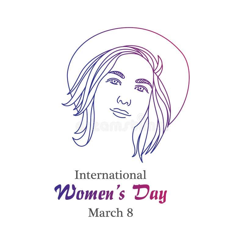 Międzynarodowe kobieta dnia kreskowej sztuki ilustracje ilustracji