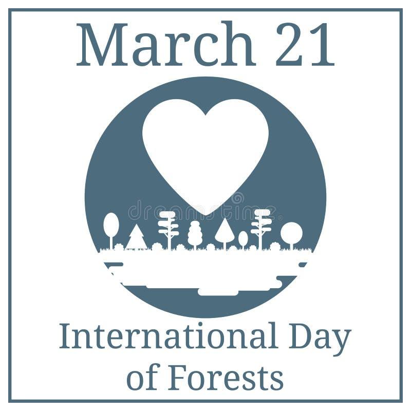 Międzynarodowy dzień lasy Marzec 21 Marcowy wakacje kalendarz Las, park, aleja z Różnymi drzewami Biała sylwetki panorama ilustracji