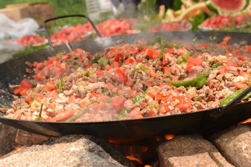 Mięsa i ogienia kebab w wymyśleniu zdjęcie royalty free
