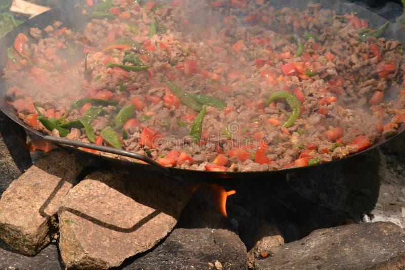 Mięsa i ogienia kebab w wymyśleniu zdjęcia royalty free