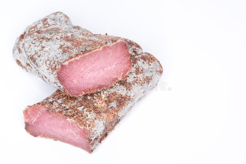 mięso składa dwa Dwa kawałka wysuszony mięso obraz stock