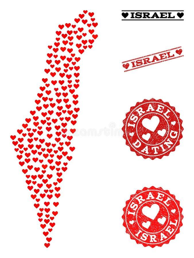 Miłość kolażu mapa Izrael i Grunge znaczki dla walentynek royalty ilustracja