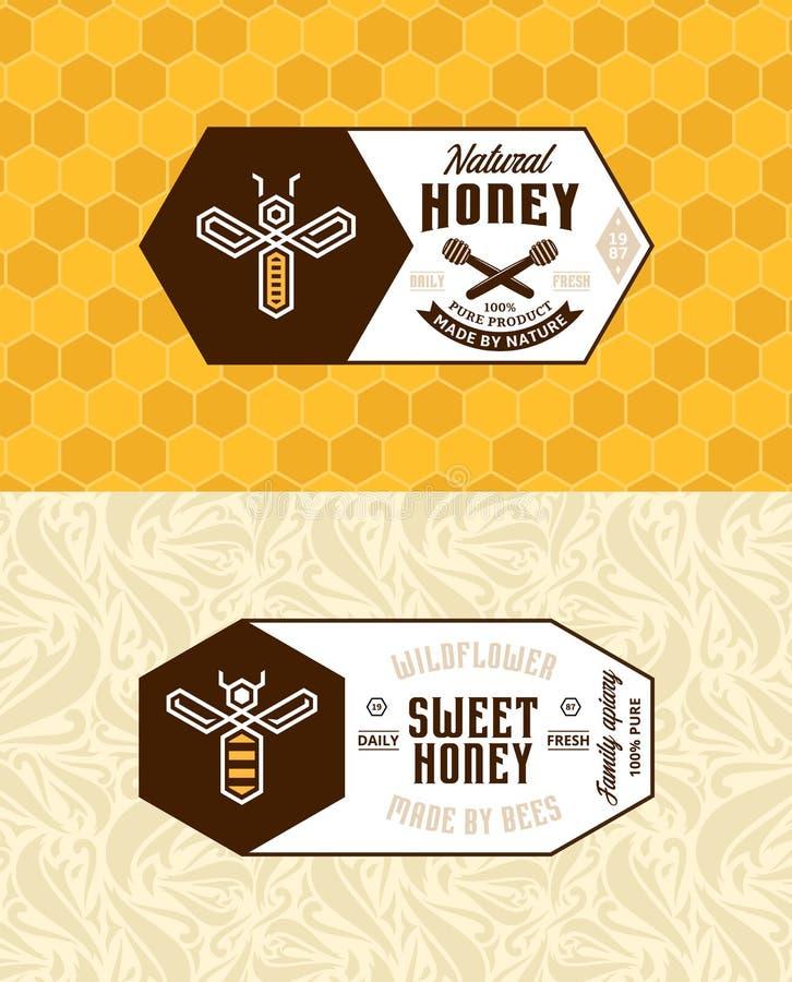 Miód etykietki logo i pakować projekt, royalty ilustracja