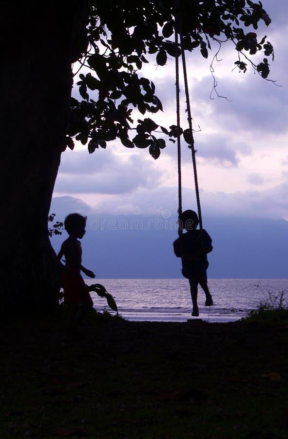 Miúdo & amigo na costa de Bornéu do balanço fotos de stock