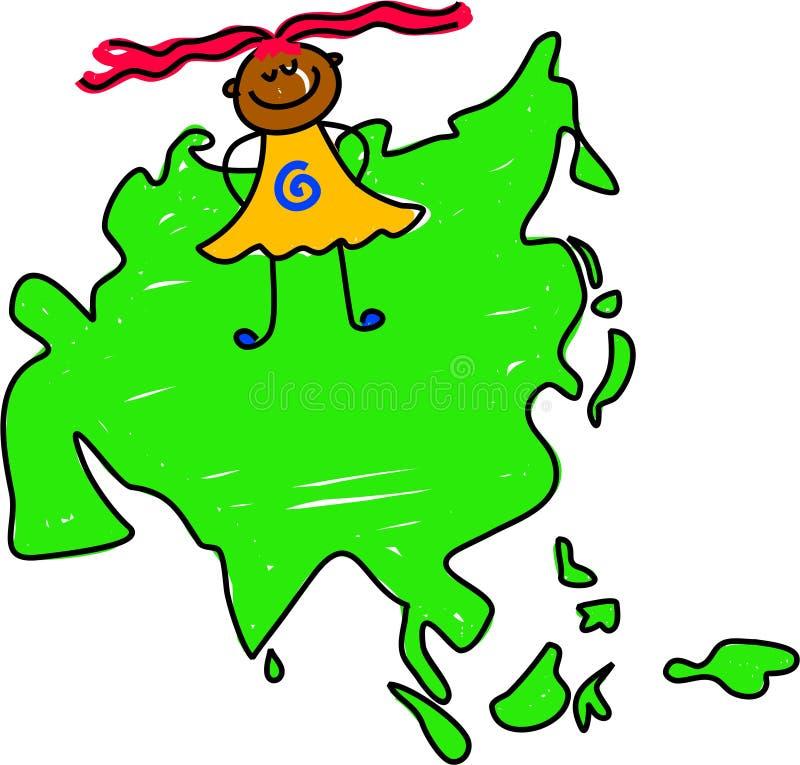 Miúdo asiático ilustração royalty free