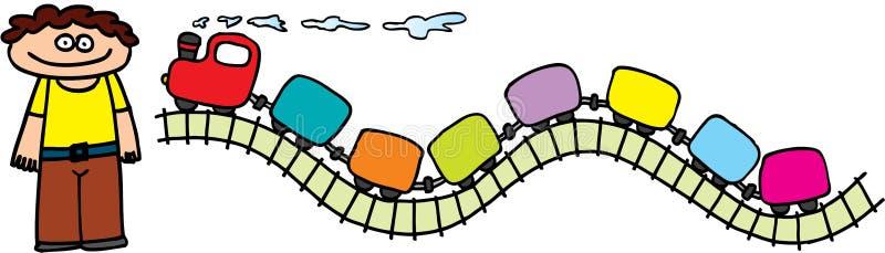 Miúdo com trem ilustração royalty free