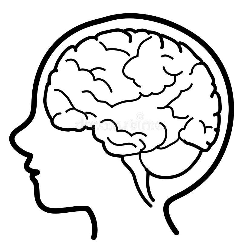 MIÚDO do ícone do cérebro ilustração stock