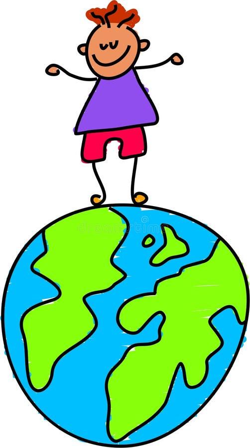 Miúdo do globo ilustração stock