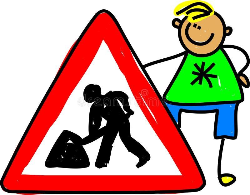 Miúdo do sinal de tráfego ilustração do vetor