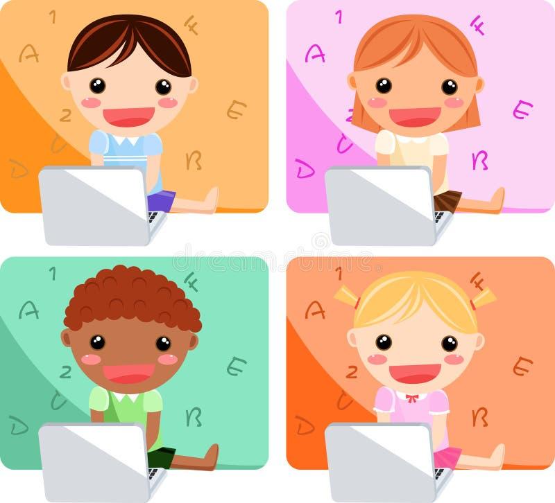Miúdo e computador ilustração do vetor