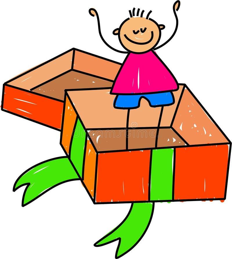 Miúdo em uma caixa ilustração royalty free