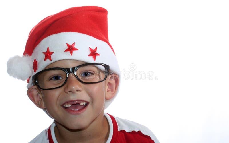 Miúdo Funky Do Natal Com Vidros Fotografia de Stock