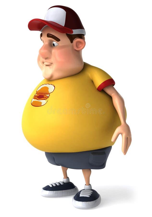 Miúdo gordo triste ilustração royalty free