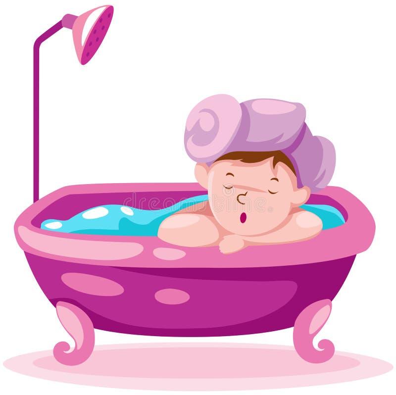 Miúdo na banheira ilustração do vetor