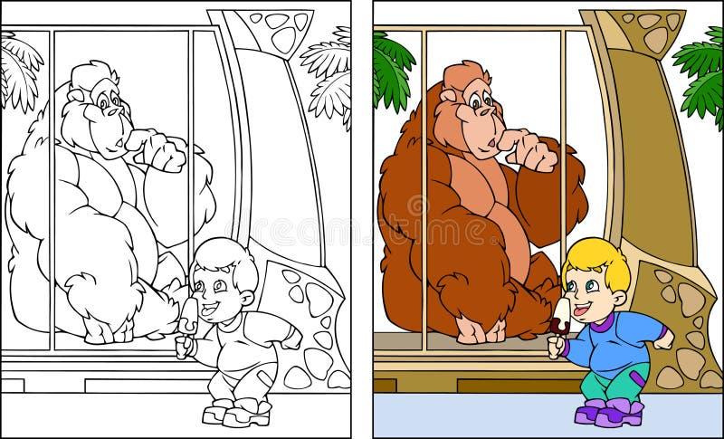 Miúdo no jardim zoológico ilustração stock