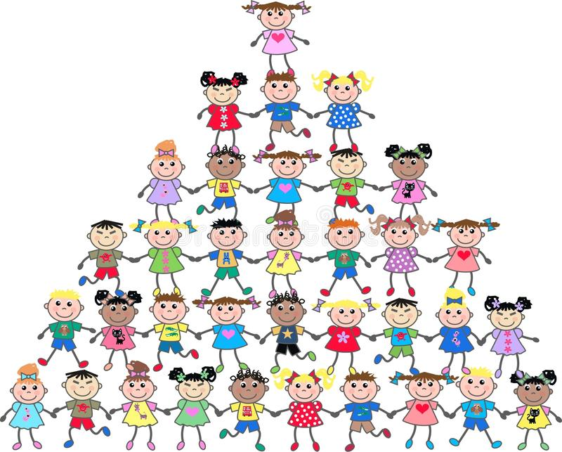 Miúdos étnicos misturados ilustração royalty free
