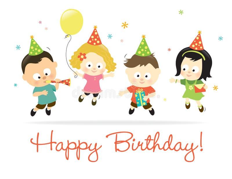 Miúdos 2 do feliz aniversario ilustração stock