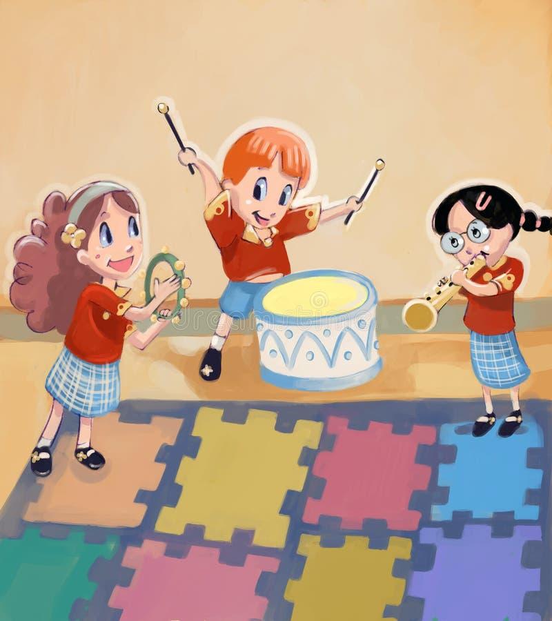 Miúdos adoráveis que fazem a música ilustração royalty free