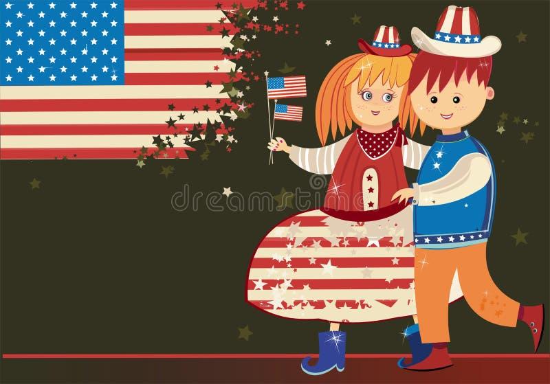 Miúdos americanos ilustração stock