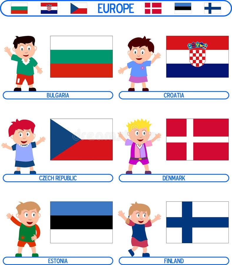Miúdos & bandeiras - Europa [2] ilustração royalty free