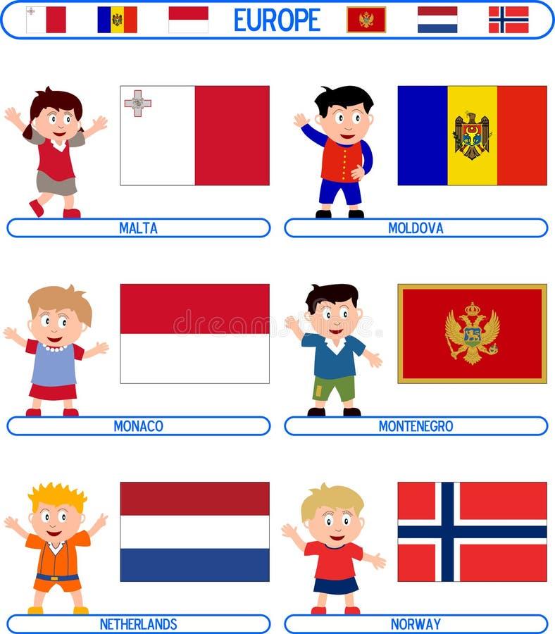Miúdos & bandeiras - Europa [5] ilustração do vetor