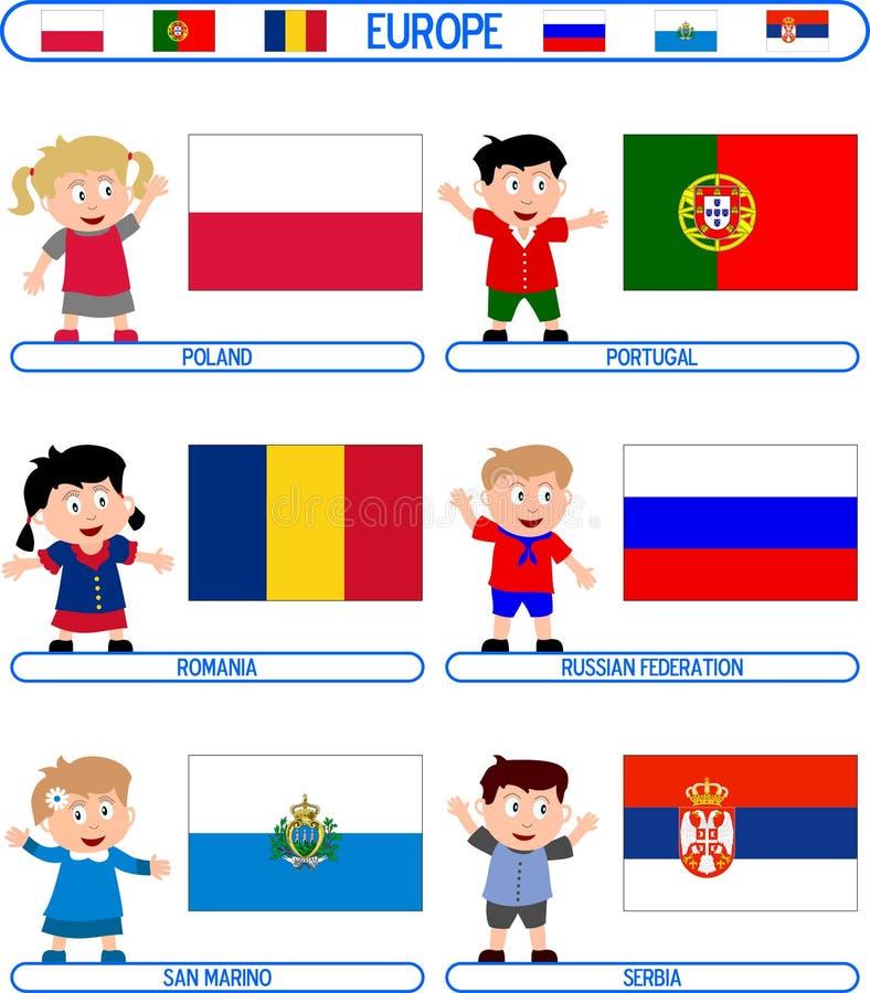 Miúdos & bandeiras - Europa [6] ilustração stock