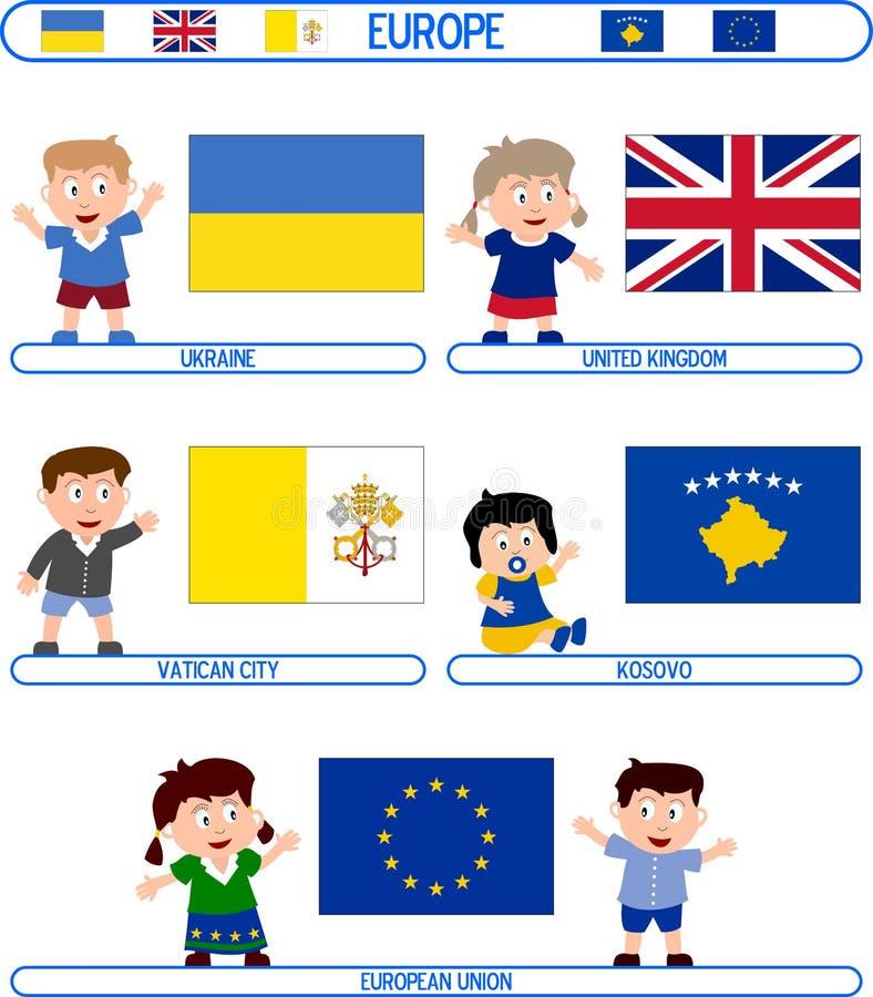 Miúdos & bandeiras - Europa [8] ilustração do vetor